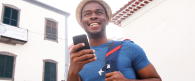 black man with phone