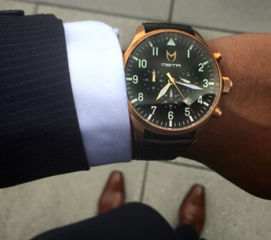 meister (MSTR) rose gold aviator watch