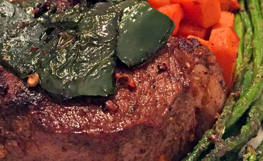 Recipe: Seared Sirloin Steak with Poblano Peppers, Sweet Potatoes, and Asparagus