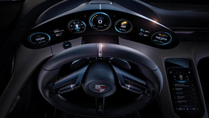 porsche mission e concept car dashboard