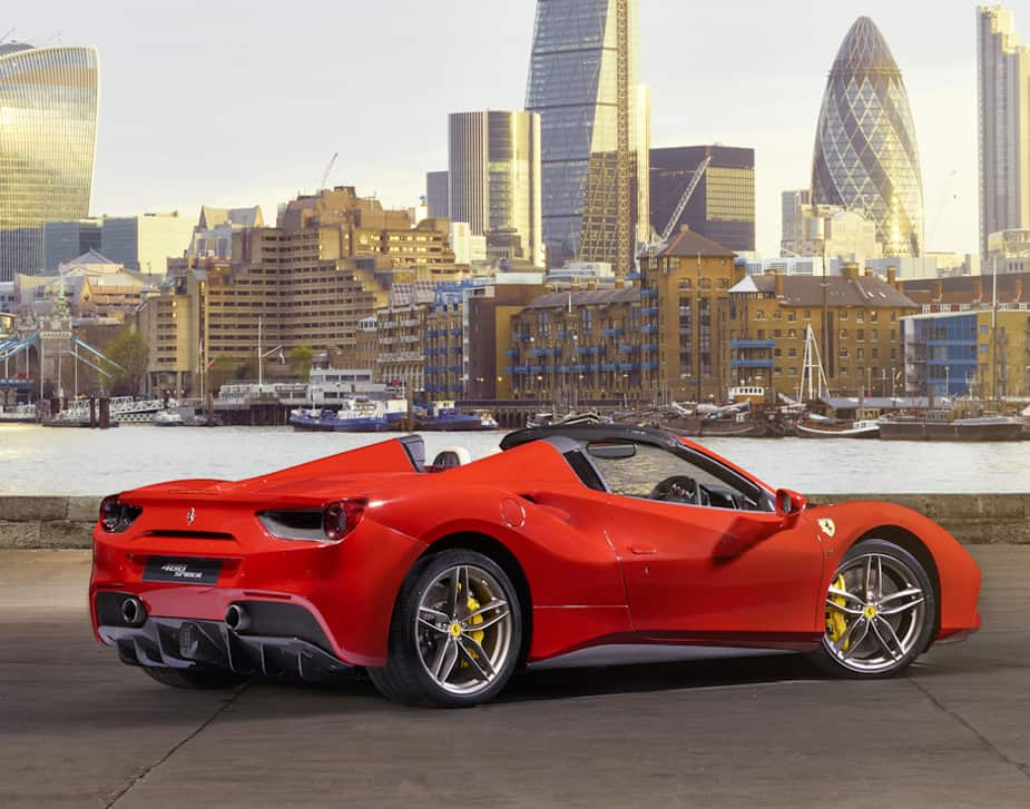ferrari 488 spider open top sports car