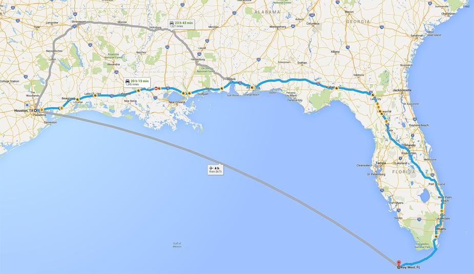 google maps texas to florida