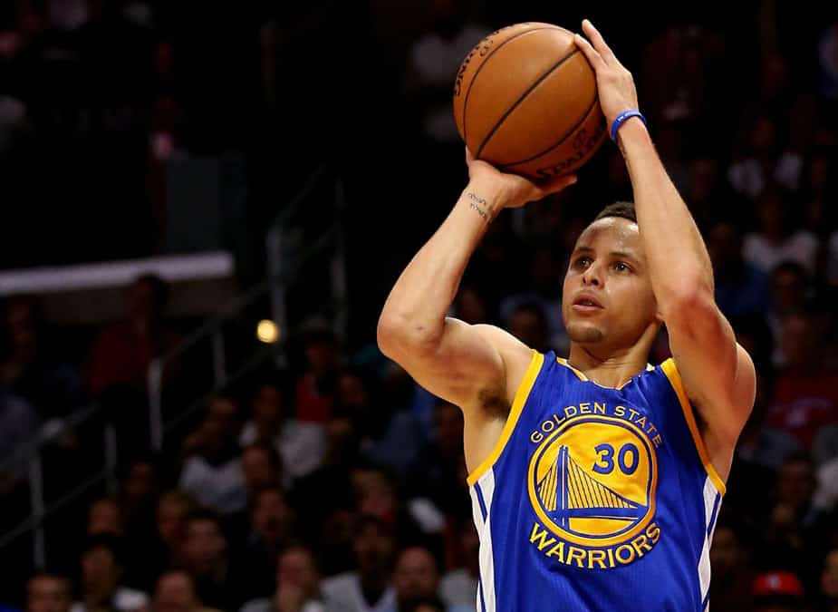 Watch Steph Curry Hit Five Straight Shots from Center Court