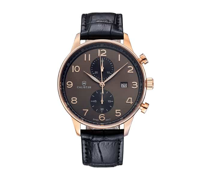 calister rose gold watch