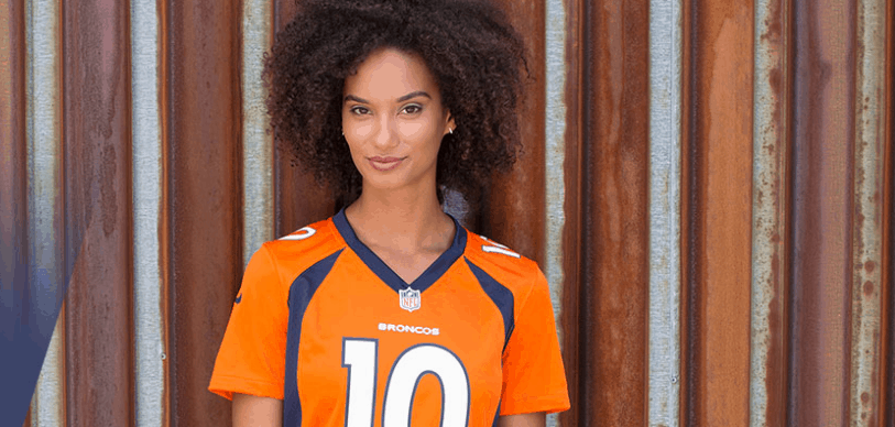 Black woman wearing denver broncos jersey nfl