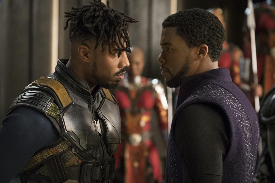 Marvel Studios' BLACK PANTHER Erik Killmonger (Michael B. Jordan) and T'Challa/Black Panther Chadwick Boseman