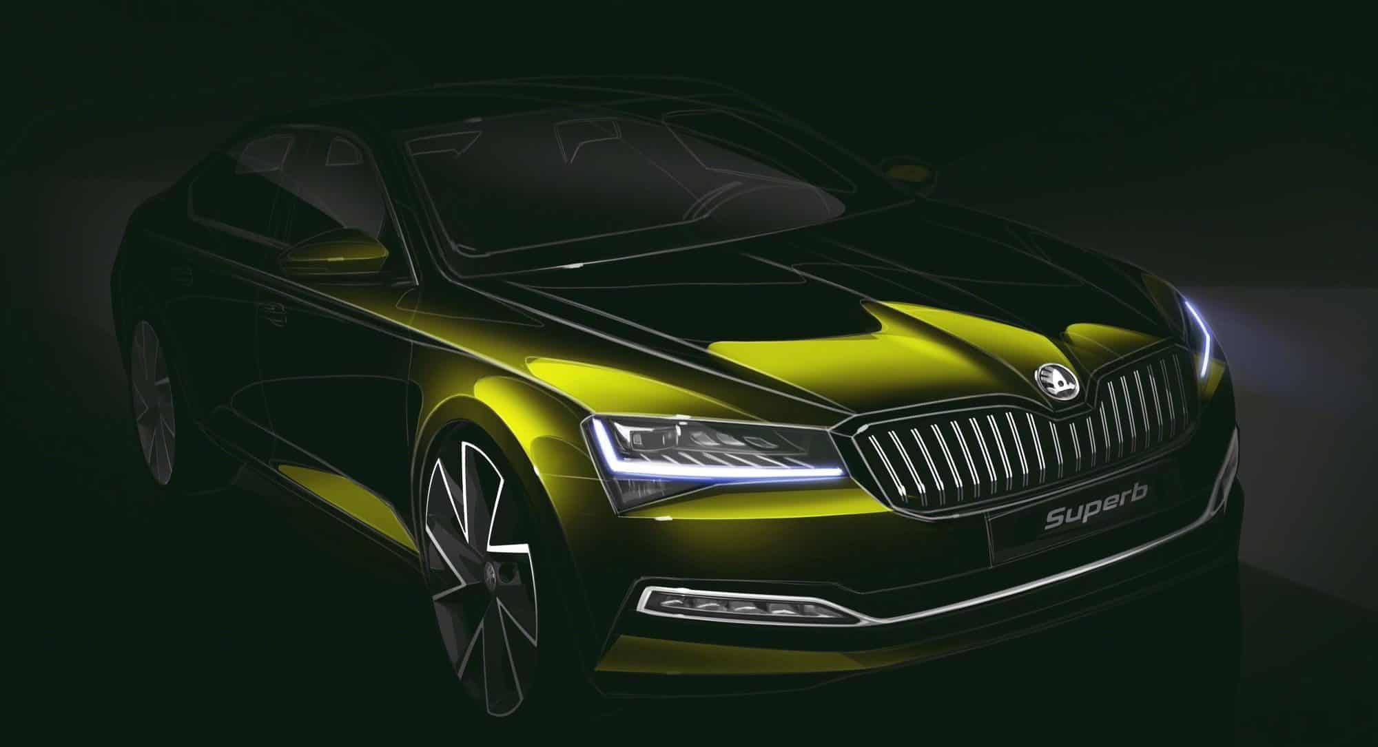 ŠKODA reveals design sketch for the revised SUPERB