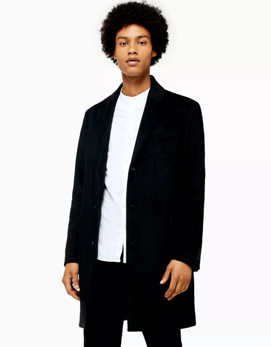 topman black overcoat
