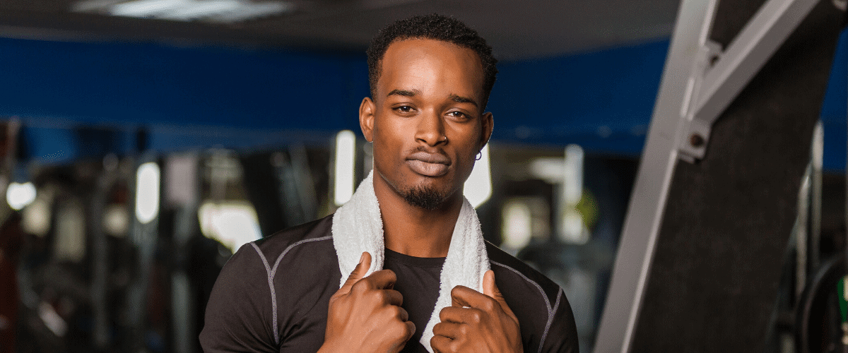african american man in gym