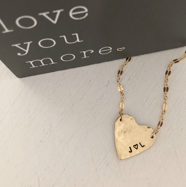 Valentine's Day Gifts for your wife - Isabelle Grace Hammered Heart Necklace