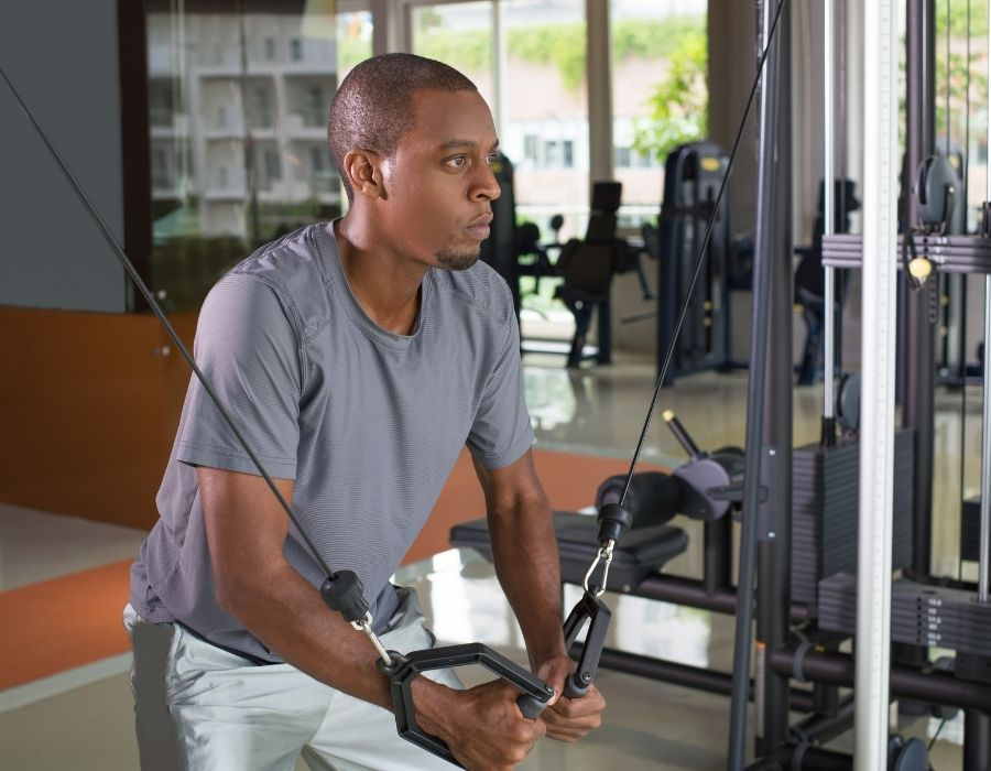 black man in gym